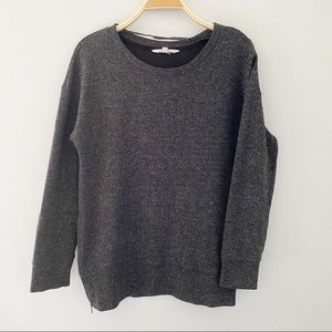 Danskin Now Dark Gray Scoop Neck Women Sweatshirt
